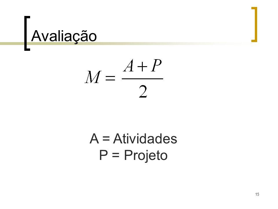 Avaliação 15 A = Atividades P = Projeto