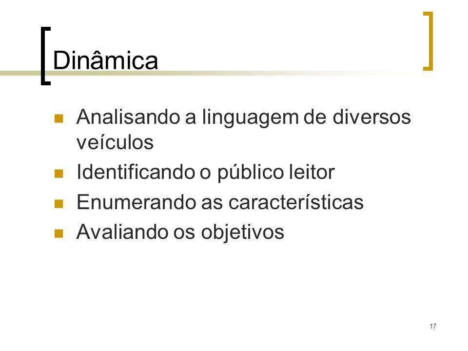 Dinâmica Analisando a linguagem de diversos veículos Identificando o público leitor Enumerando as características Avaliando os objetivos 17