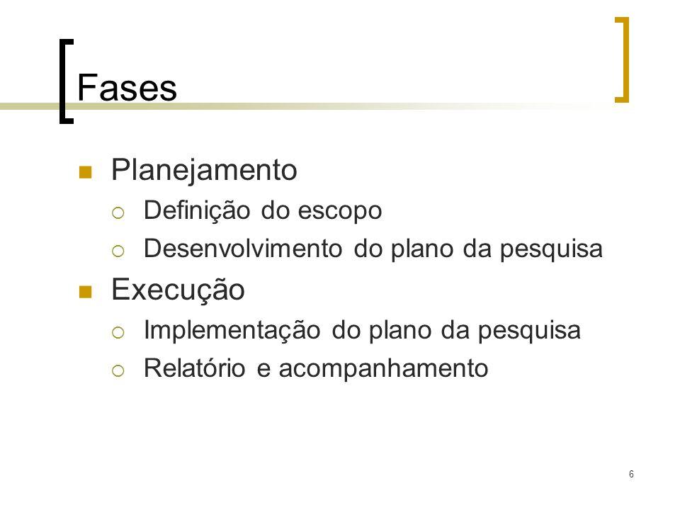 Fases Planejamento Definição do escopo Desenvolvimento do plano da pesquisa Execução Implementação do plano da pesquisa Relatório e acompanhamento 6