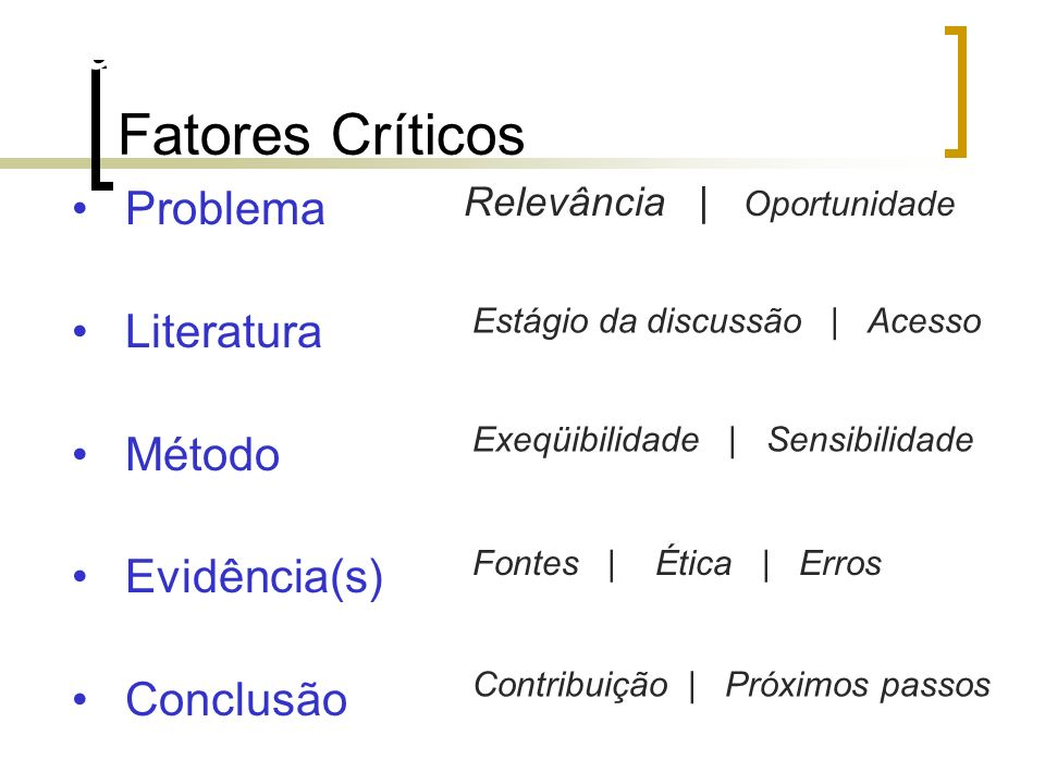 Fatores críticos (qualidade) Fontes | Ética | Erros Problema Literatura Método Evidência(s) Conclusão Estágio da discussão | Acesso Relevância | Oport