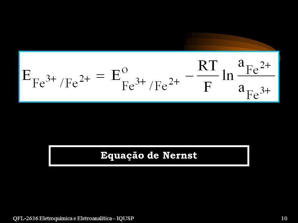 QFL-2636 Eletroquímica e Eletroanalítica – IQUSP10 Equação de Nernst