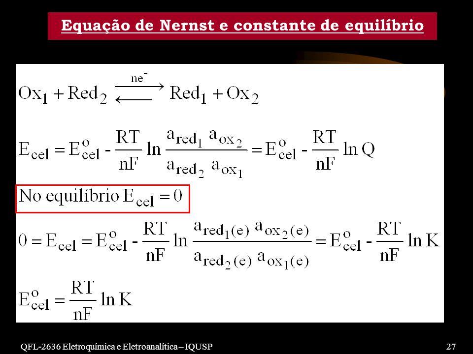 QFL-2636 Eletroquímica e Eletroanalítica – IQUSP27 Equação de Nernst e constante de equilíbrio