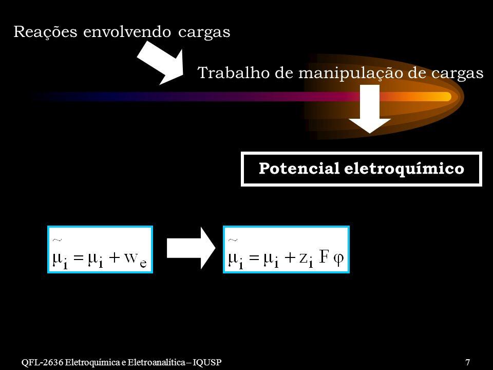 QFL-2636 Eletroquímica e Eletroanalítica – IQUSP7 Reações envolvendo cargas Trabalho de manipulação de cargas Potencial eletroquímico