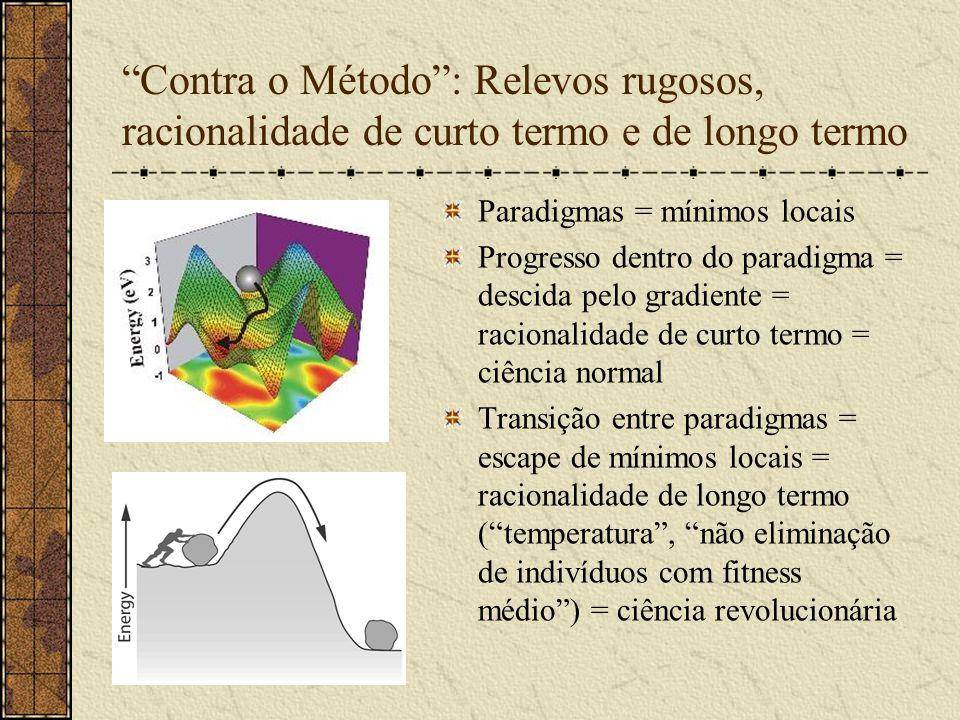 Contra o Método: Relevos rugosos, racionalidade de curto termo e de longo termo Paradigmas = mínimos locais Progresso dentro do paradigma = descida pe