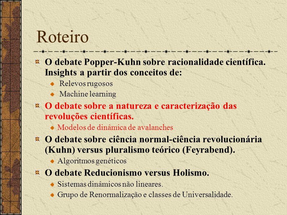 Roteiro O debate Popper-Kuhn sobre racionalidade científica. Insights a partir dos conceitos de: Relevos rugosos Machine learning O debate sobre a nat