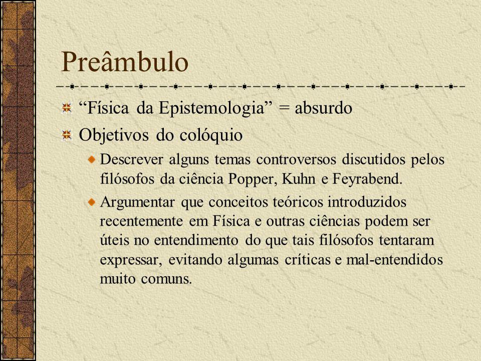 Preâmbulo Física da Epistemologia = absurdo Objetivos do colóquio Descrever alguns temas controversos discutidos pelos filósofos da ciência Popper, Ku