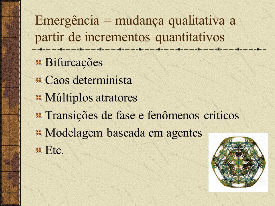 Emergência = mudança qualitativa a partir de incrementos quantitativos Bifurcações Caos determinista Múltiplos atratores Transições de fase e fenômeno