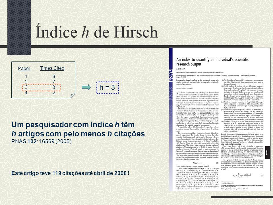 Web of Science (ISI) e Scopus Alguns índices fornecidos Número total de publicações: N Número total de citações: C (com ou sem auto- citações) Número médio de citações: C/N Citações da i-ésima publicação por ano: C i Índice h de Hirsch