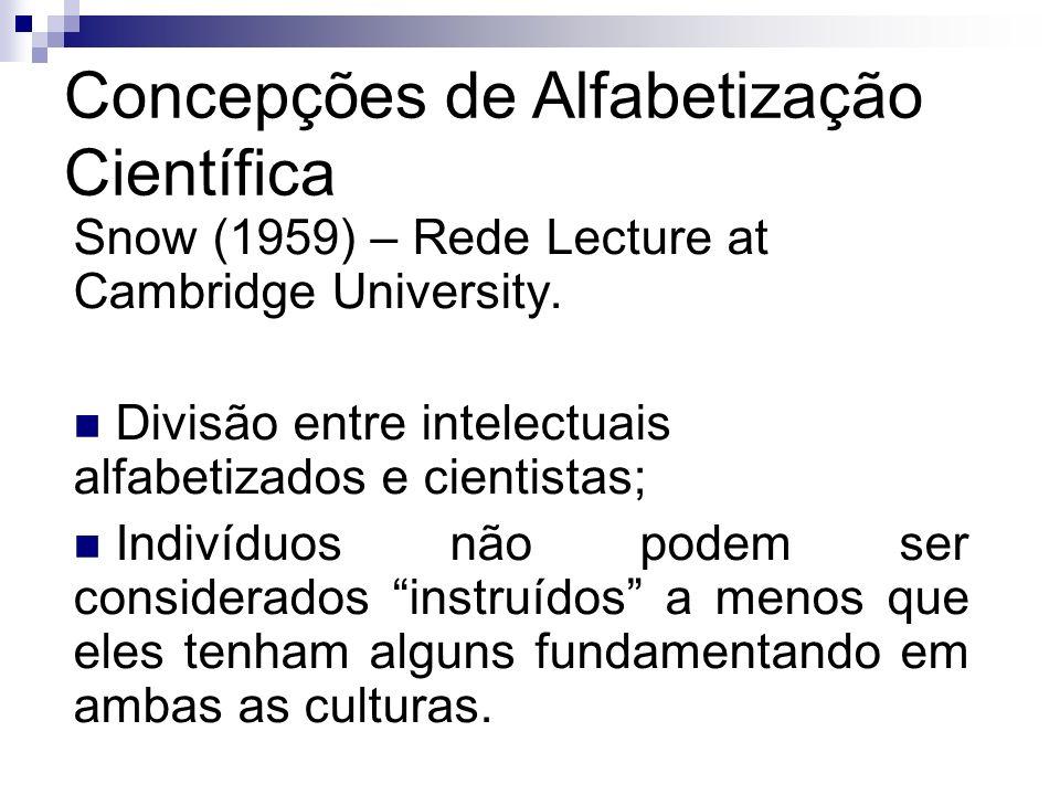 Concepções de Alfabetização Científica Snow (1959) – Rede Lecture at Cambridge University. Divisão entre intelectuais alfabetizados e cientistas; Indi