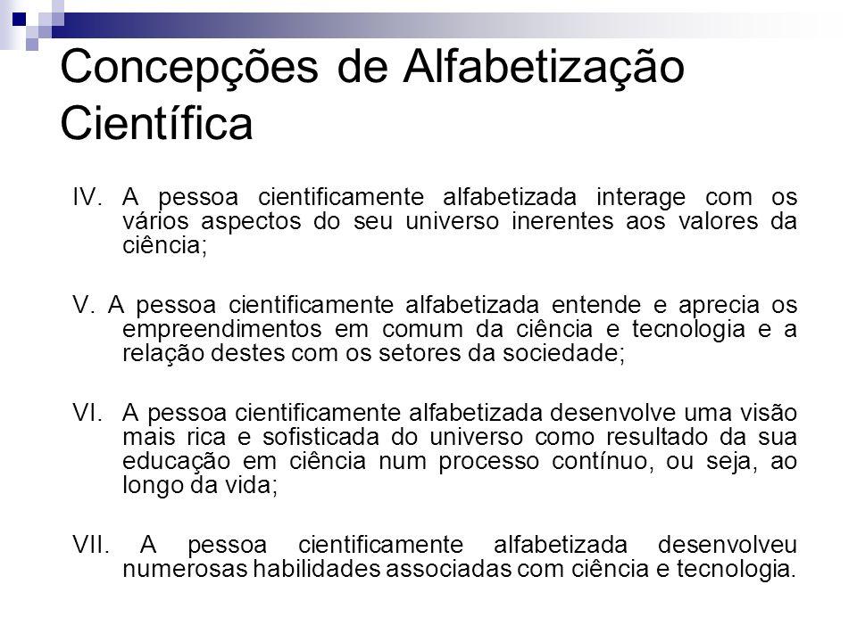 Concepções de Alfabetização Científica IV. A pessoa cientificamente alfabetizada interage com os vários aspectos do seu universo inerentes aos valores