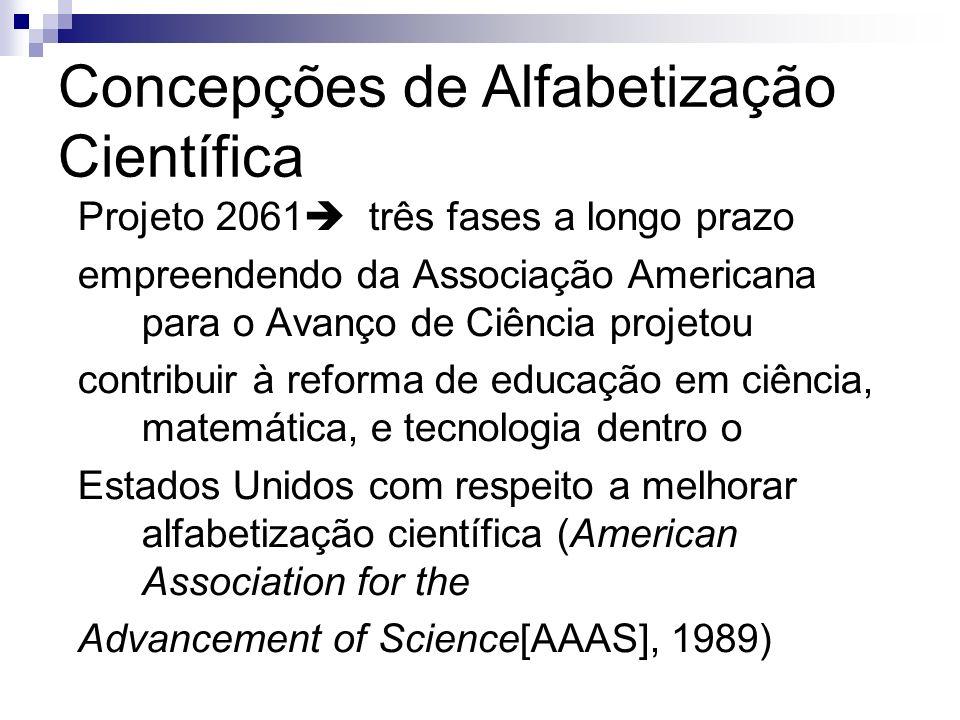 Concepções de Alfabetização Científica Projeto 2061 três fases a longo prazo empreendendo da Associação Americana para o Avanço de Ciência projetou co