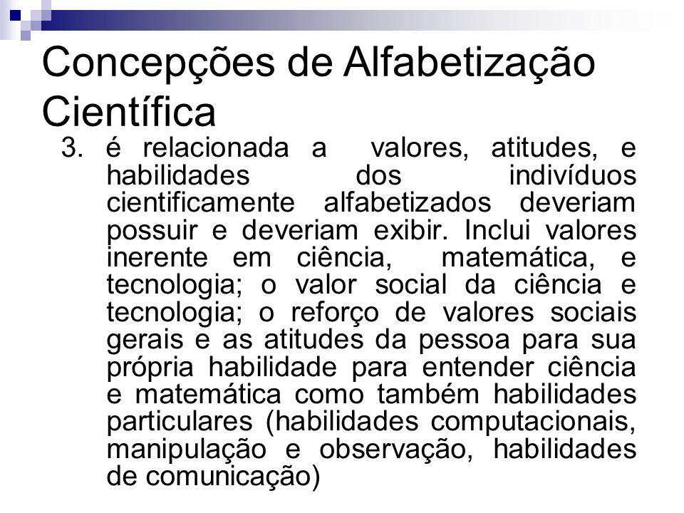 Concepções de Alfabetização Científica 3. é relacionada a valores, atitudes, e habilidades dos indivíduos cientificamente alfabetizados deveriam possu