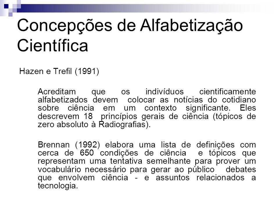 Concepções de Alfabetização Científica Hazen e Trefil (1991) Acreditam que os indivíduos cientificamente alfabetizados devem colocar as notícias do co