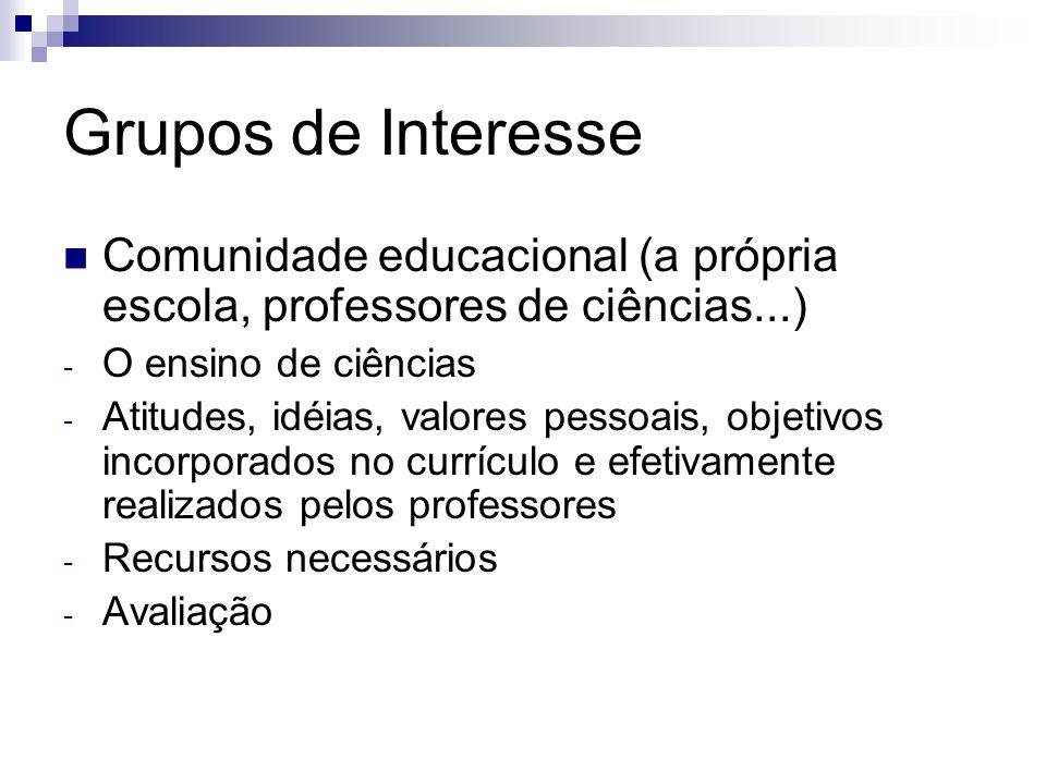 Grupos de Interesse Comunidade educacional (a própria escola, professores de ciências...) - O ensino de ciências - Atitudes, idéias, valores pessoais,