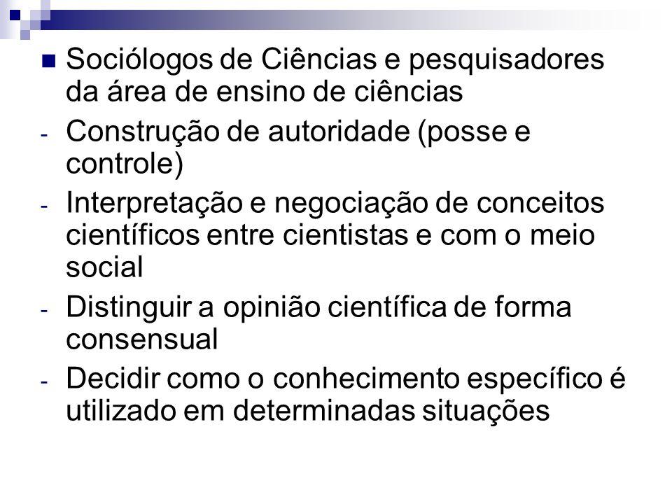Sociólogos de Ciências e pesquisadores da área de ensino de ciências - Construção de autoridade (posse e controle) - Interpretação e negociação de con