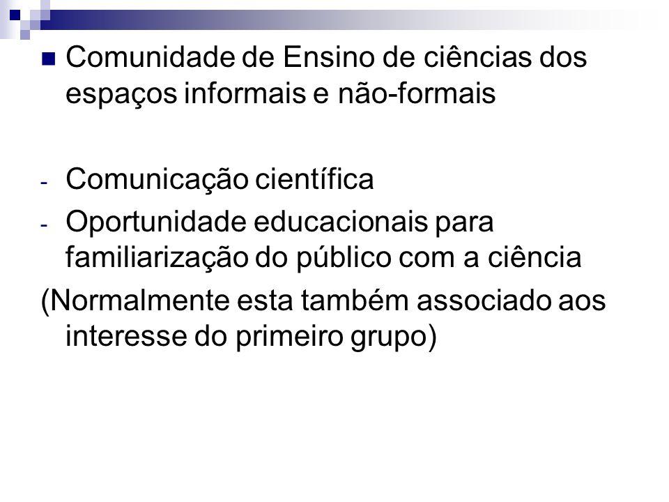 Comunidade de Ensino de ciências dos espaços informais e não-formais - Comunicação científica - Oportunidade educacionais para familiarização do públi