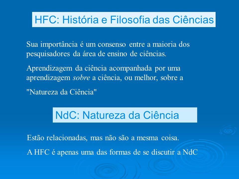 Estão relacionadas, mas não são a mesma coisa. A HFC é apenas uma das formas de se discutir a NdC HFC: História e Filosofia das Ciências NdC: Natureza