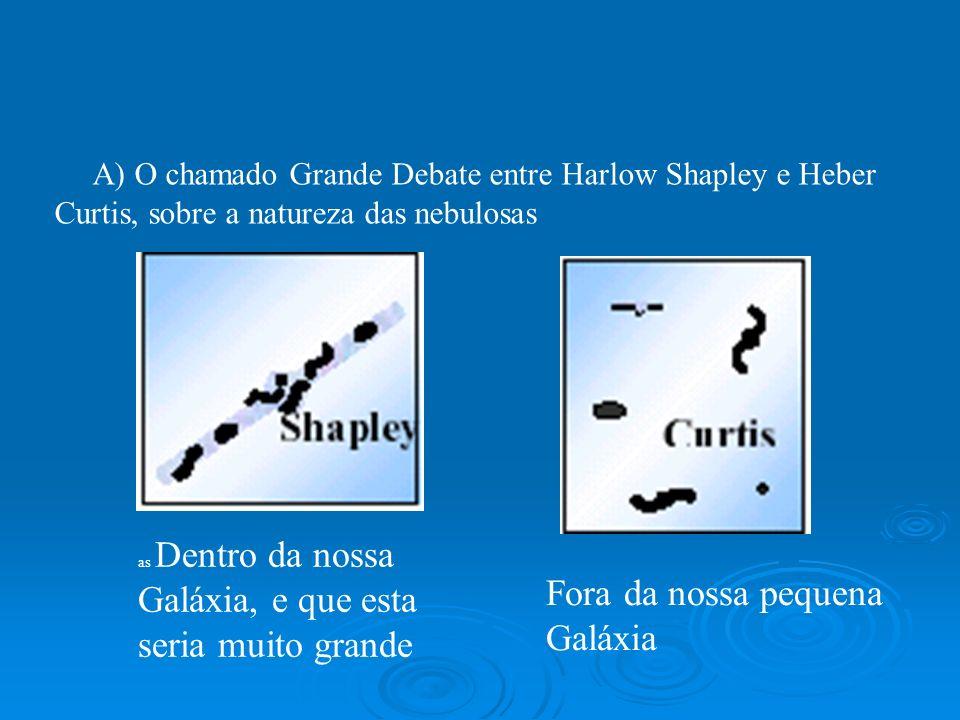 A) O chamado Grande Debate entre Harlow Shapley e Heber Curtis, sobre a natureza das nebulosas as Dentro da nossa Galáxia, e que esta seria muito gran