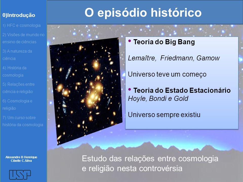 O episódio histórico Teoria do Big Bang Lemaître, Friedmann, Gamow Universo teve um começo Teoria do Estado Estacionário Hoyle, Bondi e Gold Universo