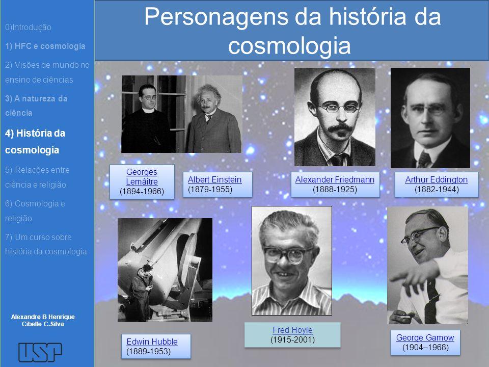 Personagens da história da cosmologia Edwin Hubble (1889-1953) Edwin Hubble (1889-1953) Albert Einstein (1879-1955) Albert Einstein (1879-1955) Alexan