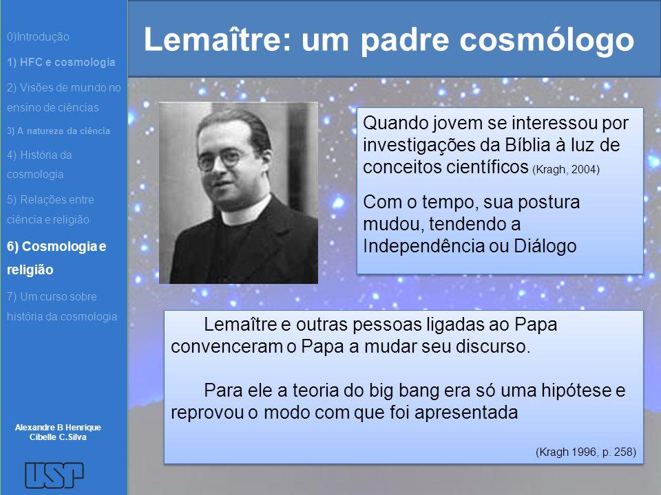 Lemaître: um padre cosmólogo Quando jovem se interessou por investigações da Bíblia à luz de conceitos científicos (Kragh, 2004) Com o tempo, sua post