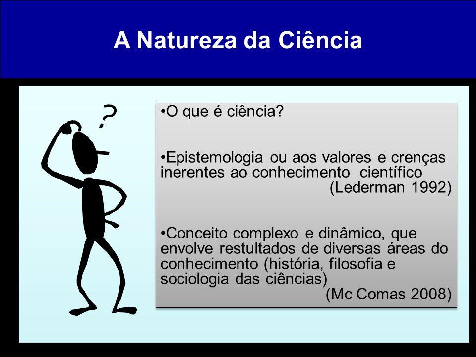 A Natureza da Ciência O que é ciência? Epistemologia ou aos valores e crenças inerentes ao conhecimento científico (Lederman 1992) Conceito complexo e