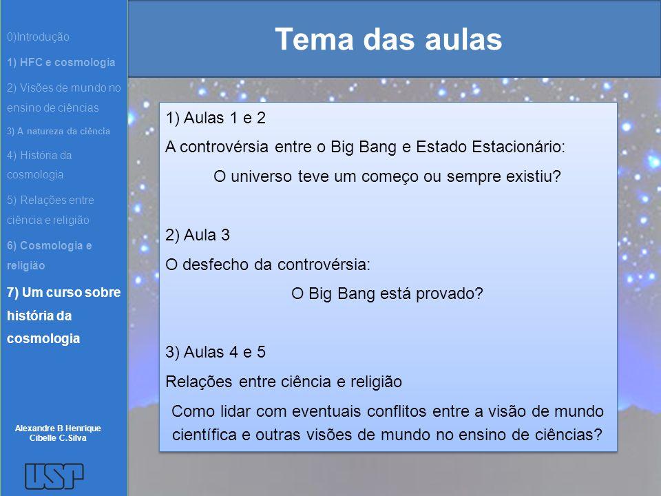 Tema das aulas 1) Aulas 1 e 2 A controvérsia entre o Big Bang e Estado Estacionário: O universo teve um começo ou sempre existiu? 2) Aula 3 O desfecho