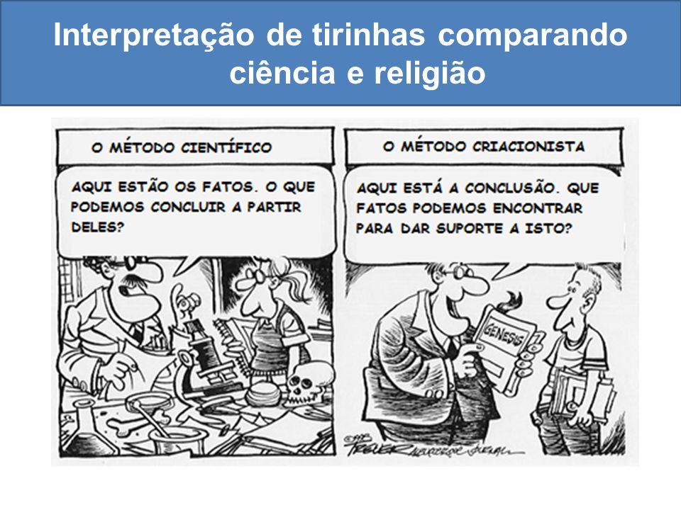 Interpretação de tirinhas comparando ciência e religião