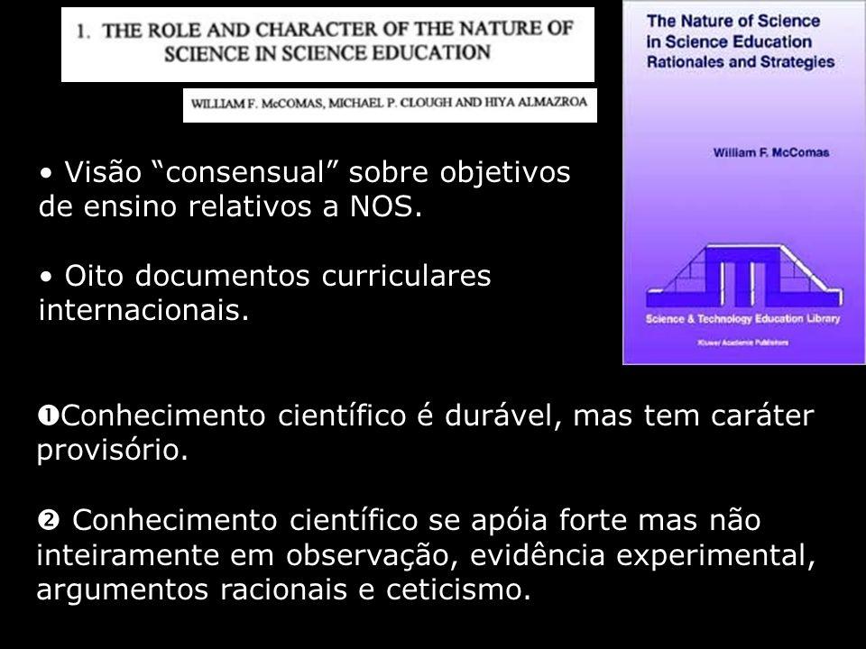 Visão consensual sobre objetivos de ensino relativos a NOS. Oito documentos curriculares internacionais. Conhecimento científico é durável, mas tem ca