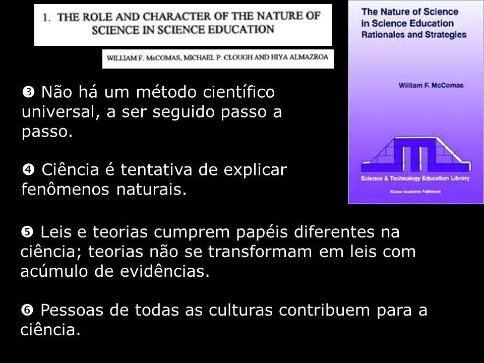 Não há um método científico universal, a ser seguido passo a passo. Ciência é tentativa de explicar fenômenos naturais. Leis e teorias cumprem papéis
