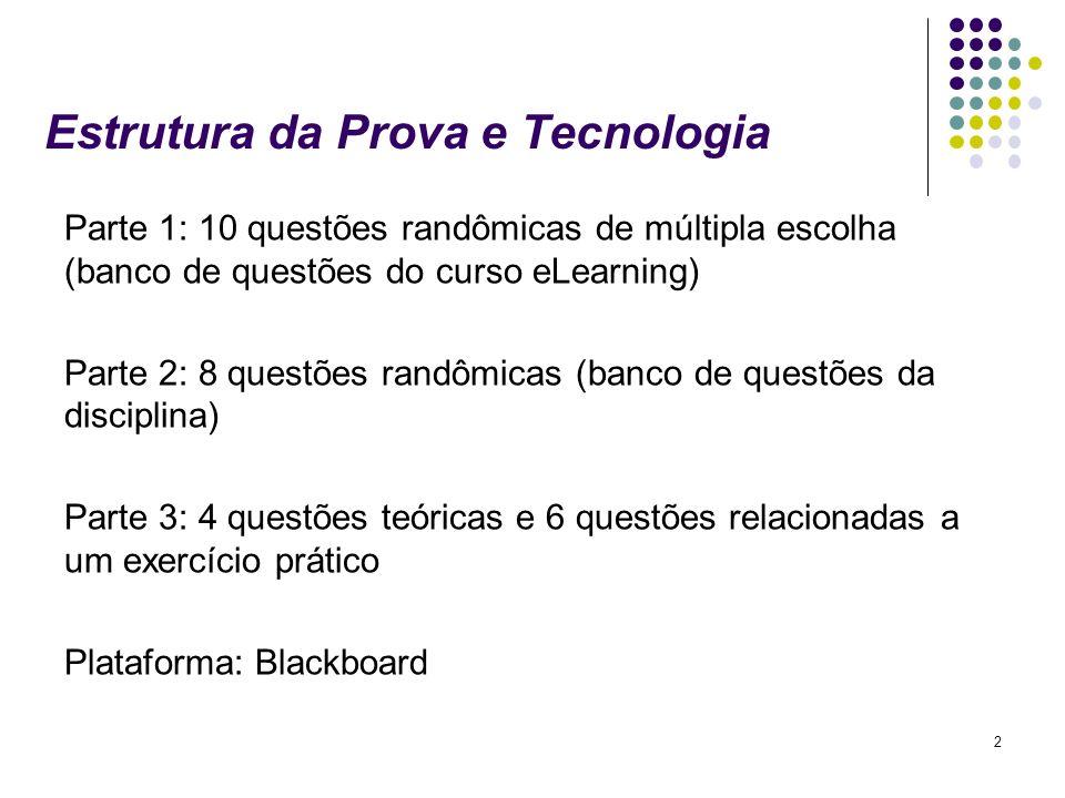 2 Estrutura da Prova e Tecnologia Parte 1: 10 questões randômicas de múltipla escolha (banco de questões do curso eLearning) Parte 2: 8 questões randô