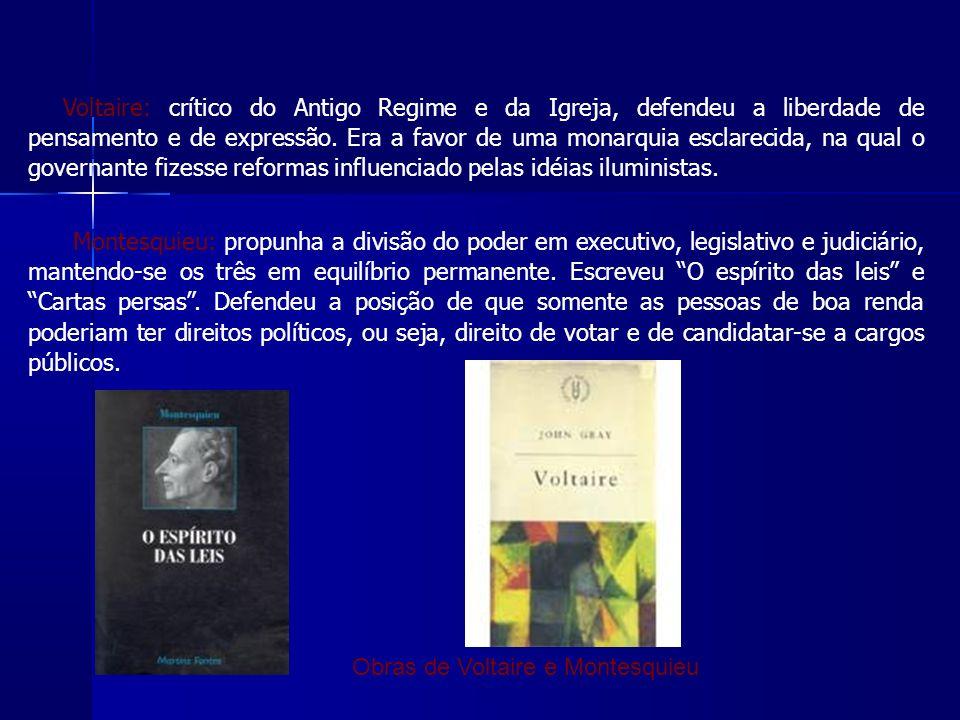 Voltaire: crítico do Antigo Regime e da Igreja, defendeu a liberdade de pensamento e de expressão.