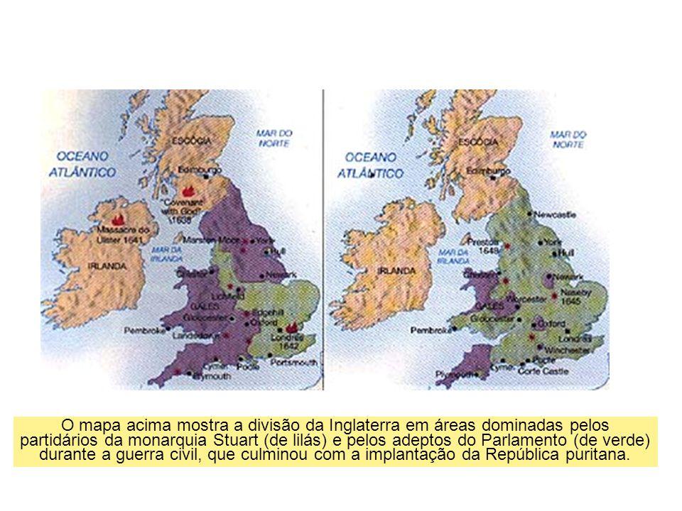 O mapa acima mostra a divisão da Inglaterra em áreas dominadas pelos partidários da monarquia Stuart (de lilás) e pelos adeptos do Parlamento (de verde) durante a guerra civil, que culminou com a implantação da República puritana.