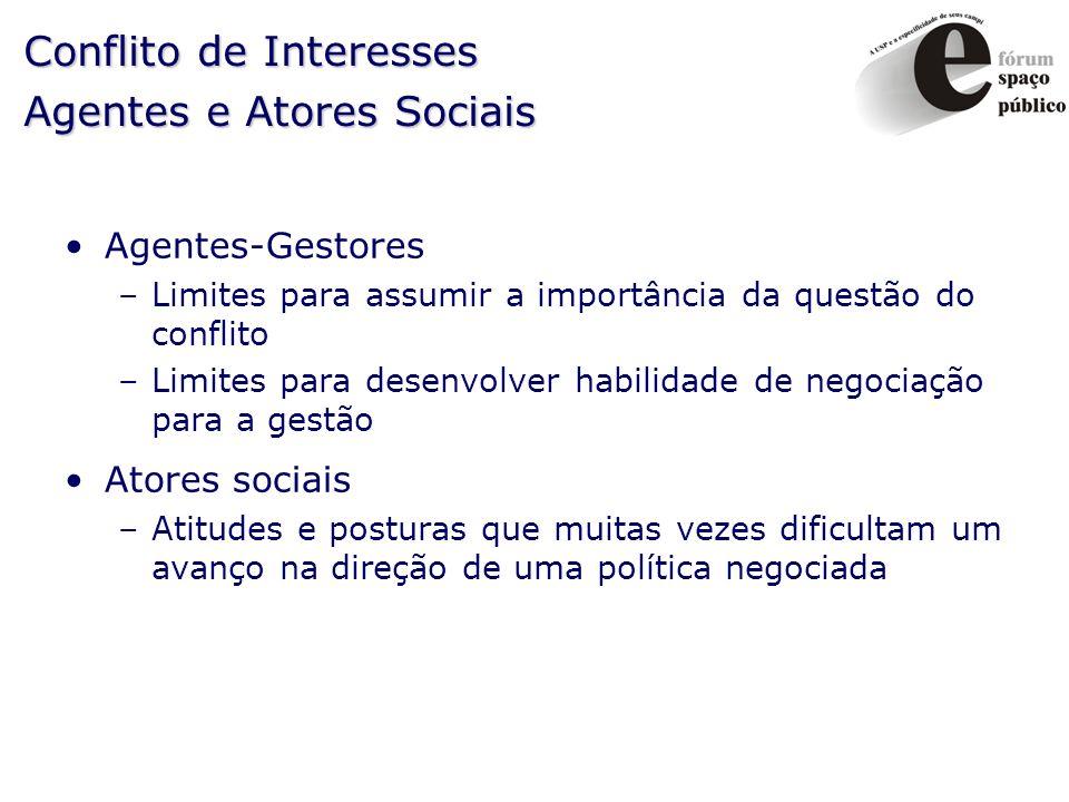 Conflito de Interesses Agentes e Atores Sociais Agentes-Gestores –Limites para assumir a importância da questão do conflito –Limites para desenvolver