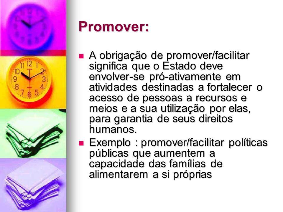 Promover: A obrigação de promover/facilitar significa que o Estado deve envolver-se pró-ativamente em atividades destinadas a fortalecer o acesso de p