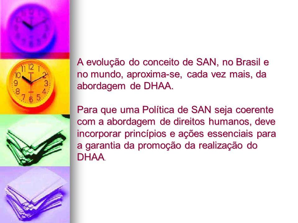 A evolução do conceito de SAN, no Brasil e no mundo, aproxima-se, cada vez mais, da abordagem de DHAA. Para que uma Política de SAN seja coerente com
