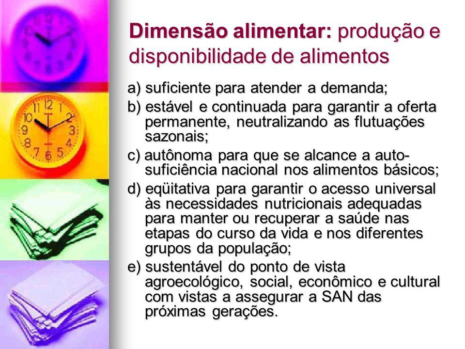 Dimensão alimentar: produção e disponibilidade de alimentos a) suficiente para atender a demanda; b) estável e continuada para garantir a oferta perma