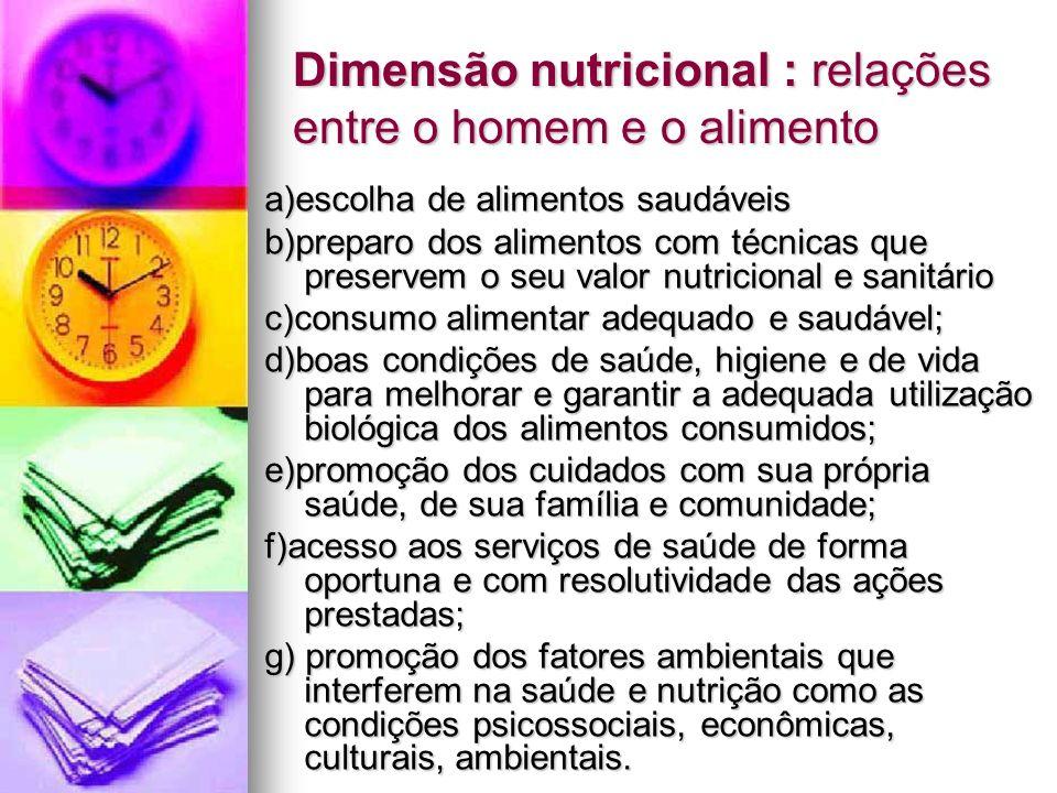 Dimensão nutricional : relações entre o homem e o alimento a)escolha de alimentos saudáveis b)preparo dos alimentos com técnicas que preservem o seu v