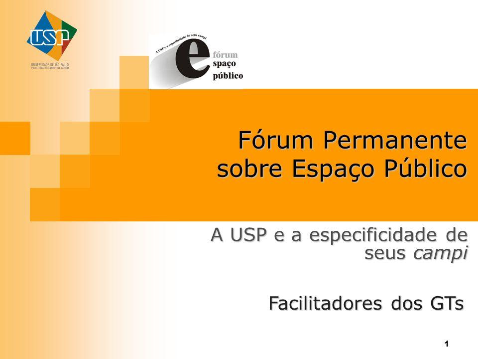 1 Fórum Permanente sobre Espaço Público A USP e a especificidade de seus campi Facilitadores dos GTs