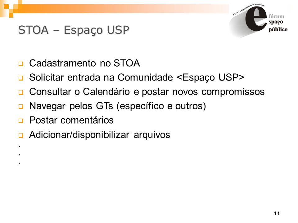 11 STOA – Espaço USP Cadastramento no STOA Solicitar entrada na Comunidade Consultar o Calendário e postar novos compromissos Navegar pelos GTs (espec