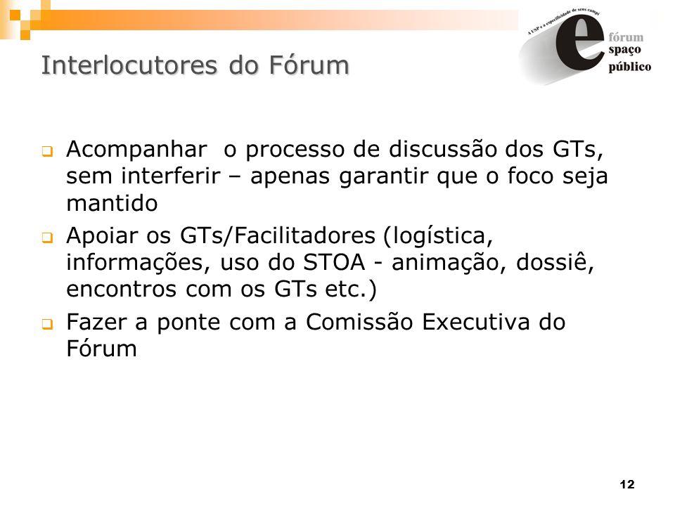 12 Interlocutores do Fórum Acompanhar o processo de discussão dos GTs, sem interferir – apenas garantir que o foco seja mantido Apoiar os GTs/Facilita