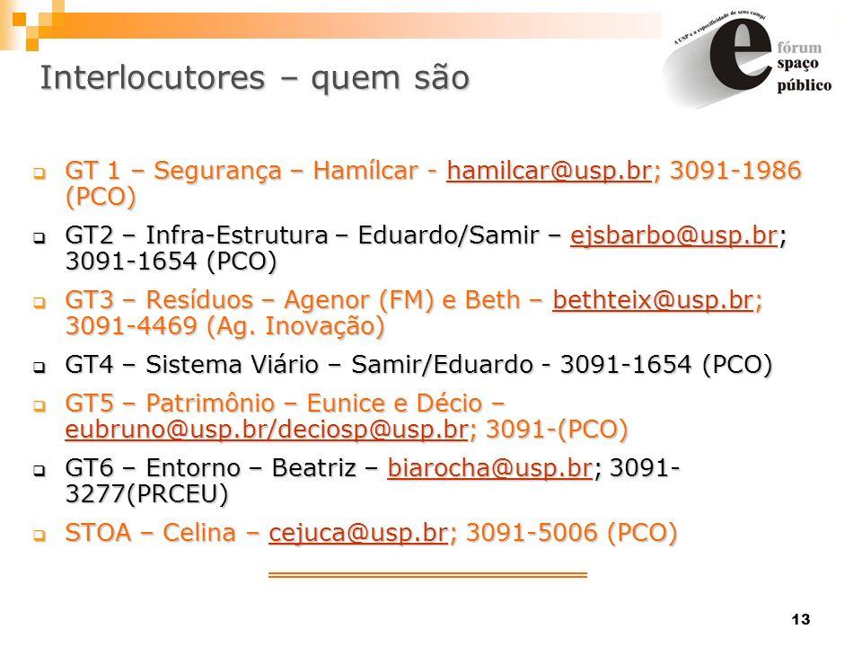13 Interlocutores – quem são GT 1 – Segurança – Hamílcar - hamilcar@usp.br; 3091-1986 (PCO) GT 1 – Segurança – Hamílcar - hamilcar@usp.br; 3091-1986 (
