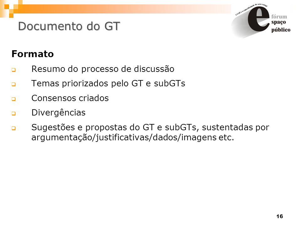 16 Documento do GT Formato Resumo do processo de discussão Temas priorizados pelo GT e subGTs Consensos criados Divergências Sugestões e propostas do