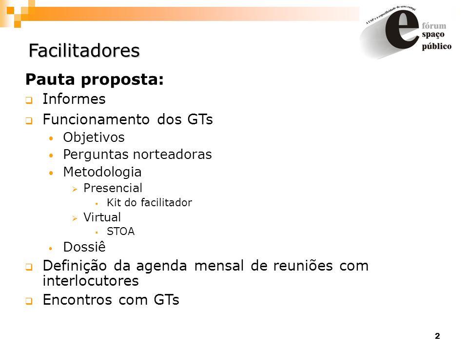 2 Facilitadores Pauta proposta: Informes Funcionamento dos GTs Objetivos Perguntas norteadoras Metodologia Presencial Kit do facilitador Virtual STOA