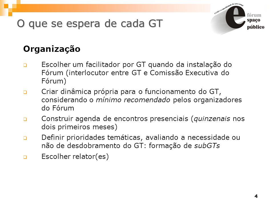 4 Organização Escolher um facilitador por GT quando da instalação do Fórum (interlocutor entre GT e Comissão Executiva do Fórum) Criar dinâmica própri