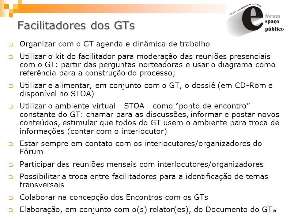 5 Facilitadores dos GTs Organizar com o GT agenda e dinâmica de trabalho Utilizar o kit do facilitador para moderação das reuniões presenciais com o G