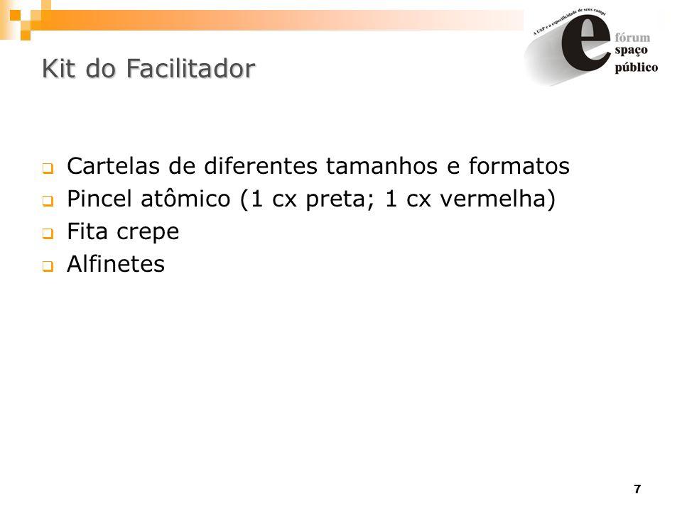 7 Kit do Facilitador Cartelas de diferentes tamanhos e formatos Pincel atômico (1 cx preta; 1 cx vermelha) Fita crepe Alfinetes