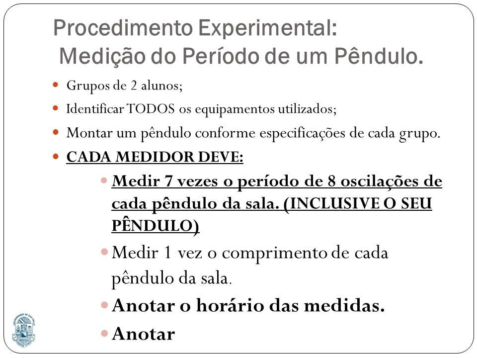 Procedimento Experimental: Medição do Período de um Pêndulo. Grupos de 2 alunos; Identificar TODOS os equipamentos utilizados; Montar um pêndulo confo