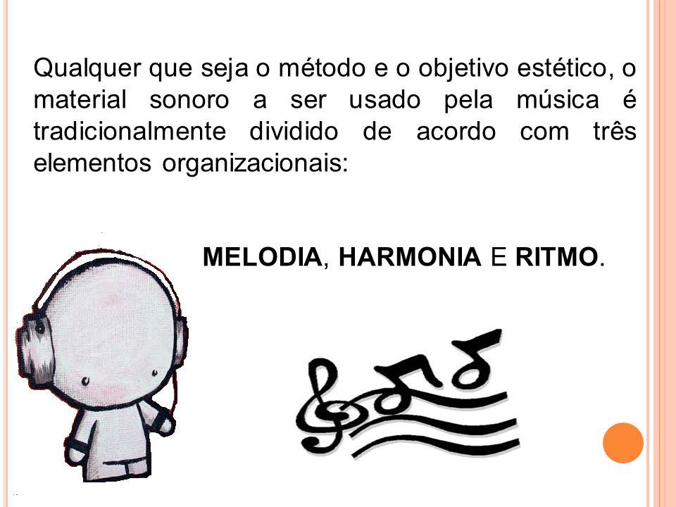 Qualquer que seja o método e o objetivo estético, o material sonoro a ser usado pela música é tradicionalmente dividido de acordo com três elementos o
