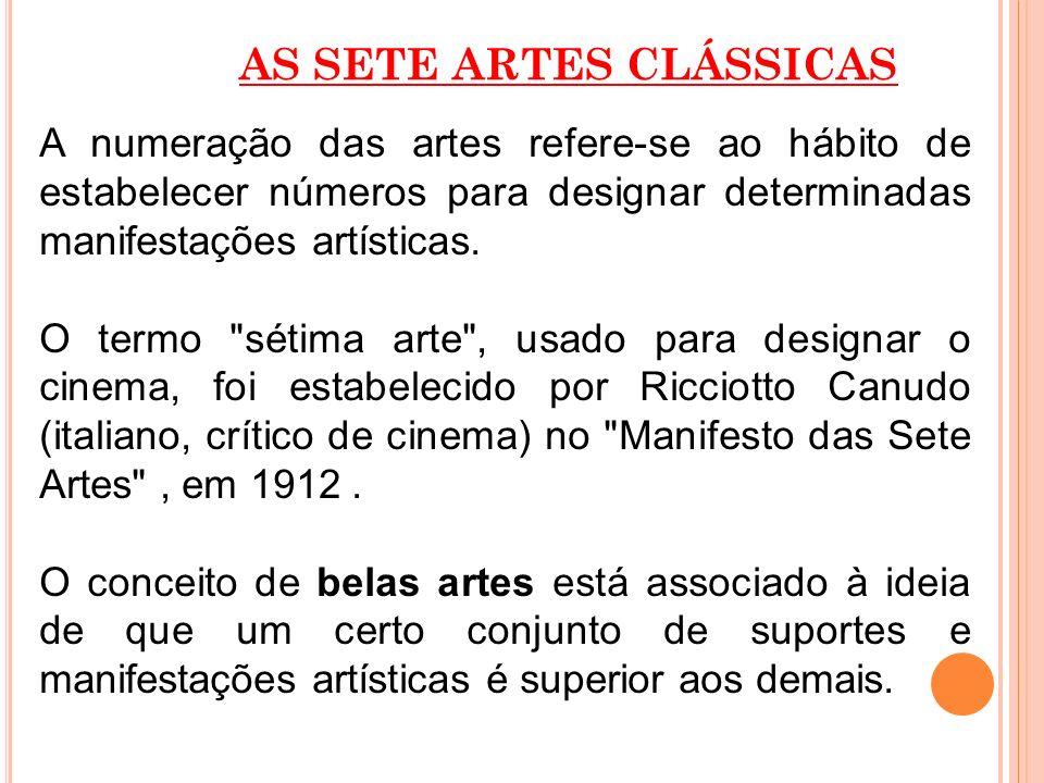 AS SETE ARTES CLÁSSICAS A numeração das artes refere-se ao hábito de estabelecer números para designar determinadas manifestações artísticas. O termo